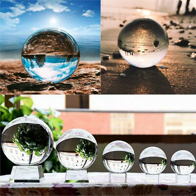 Clear Glass Crystal Ball Healing Sphere Photography Props Lensball Decor Gift UK