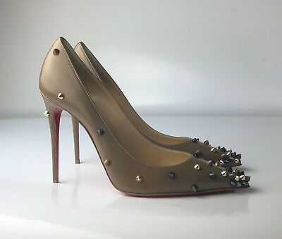 97624815b5b NIB CHRISTIAN LOUBOUTIN Degraspike 100 Orange Leather Gold Spike ...
