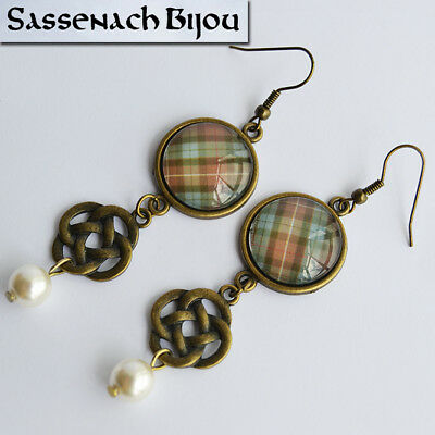 Scottish Tartan, Celtic Knot & Pearl - Bronze Hook Earrings - Outlander Jewelry