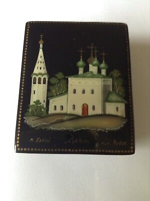 Russian Folk Art Pill Trinket Box Lacquer Paper Mache Signed Church Gilt