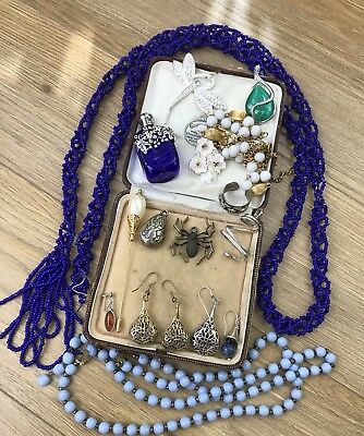 Joblot of antique vintage jewellery pieces spares repairs amber white metal