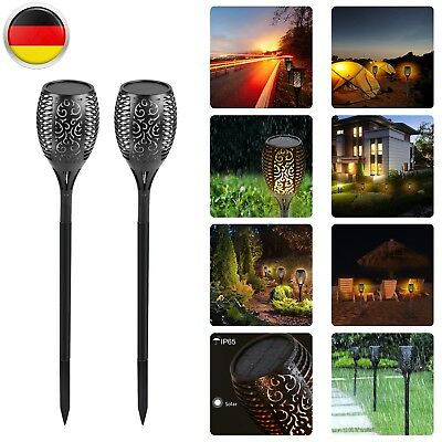2TLG LED Solarfackel 96 LEDs amber flackernd tolle Flammenimitation Gartenfackel