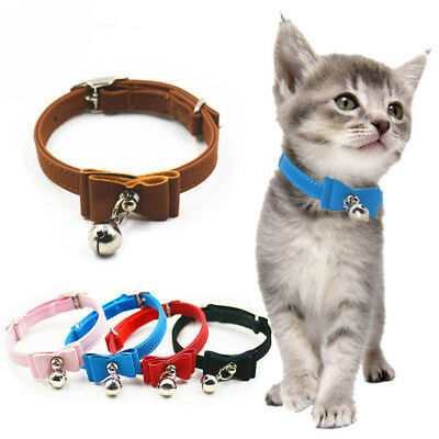 1Pc Adjustable Small Dog Cat Collar Pet Cute Bow Tie With Bell Puppy Neck Strap