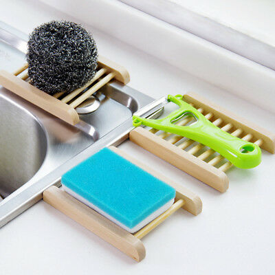 Home Bathroom Bamboo Wooden Soap Dish Drain Tray Holder Storage Rack Plate