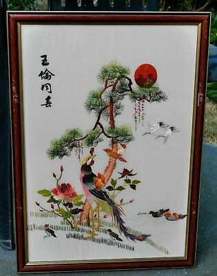 Chinese Framed embroided white silk  picture of STORKS & BIRDS IN FIR TREE & SUN