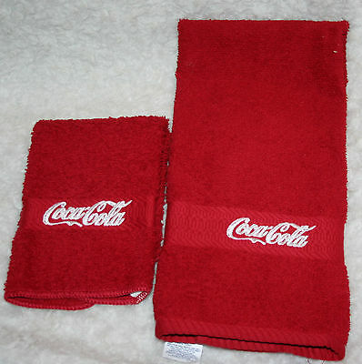 """""""Coca Cola Inspired"""" 1 Red Bath towel & 1 Red Wash cloth w/white embroidered"""