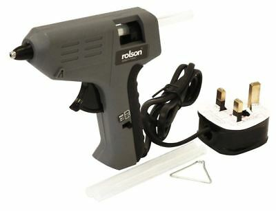 Rolson 240V Hot Melt Mini Glue Gun For Hobby Craft Art with Silicone Sticks, DIY