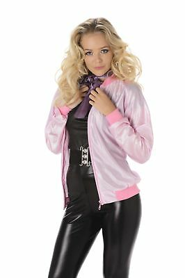 Ladies 50's Pink Bowling Jacket Fancy Dress Costume Hen Party Outfit