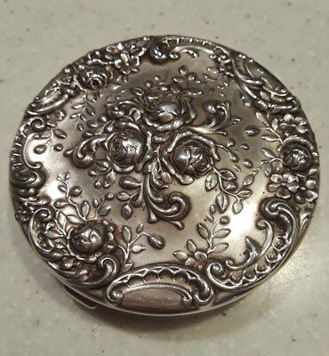 Antique Gorham Sterling Silver Rose REPOUSSE Mirror Compact