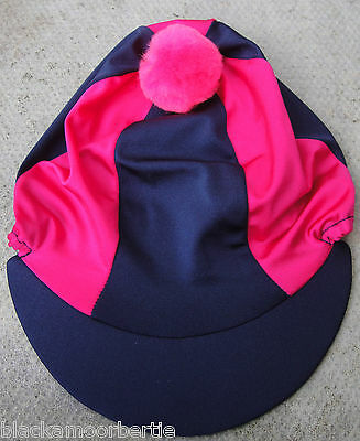Riding Hat Silk Skull cap Cover NAVY BLUE & HOT CERISE PINK * With OR w/o Pompom
