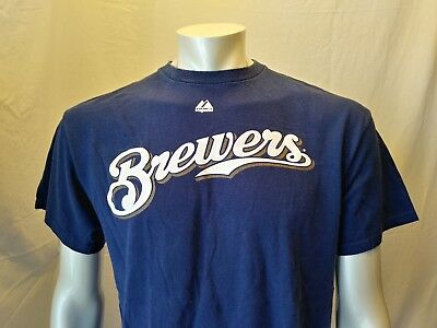 Ryan Braun #8 Milwaukee Brewers MLB Majestic Crew Neck Short Sleeve T Shirt Sz L
