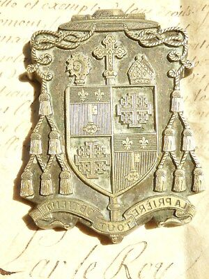 Rare antique supralibros brass printing bookplate stamp coat of arms of a Bishop