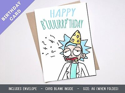 Greeting card RICK AND MORTY & funny boyfriend Girlfriend Birthday Schwifty burp