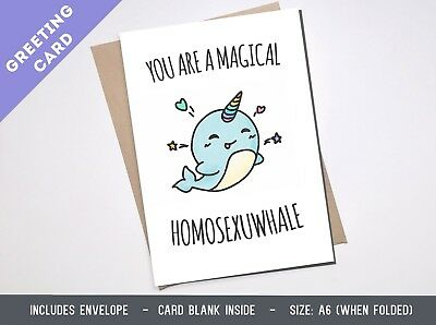 LGBT GREETING CARD gay cute friend rainbow funny boyfriend lgbt queer Birthday