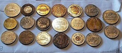 Lot of 20 Diff Car Wash Tokens California & Other States!