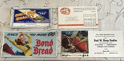 Vintage Advertising Ink Blotters (4) Taxidermy, Bread, Blue Sunoco, Bond Co.