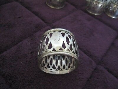 "Vintage set of 6 Sterling Silver Napkin Rings  Pierced Open Work ""J""  Monogram"