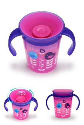 Munchkin Miracle 360 Degrees Deco Trainer Cup,6 oz/177 ml,Pink Bird RRP £19.99