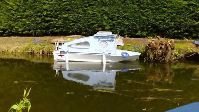 Unique Mini Electric Day Boat - 12ft - Cabin - Very Cute! - Boat and Car Trailer