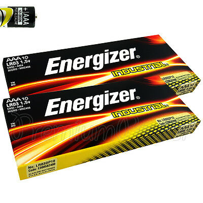20 x Energizer AAA batteries Industrial 1.5V LR03 MN2400 Micro AL-Mn EXP:2026