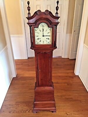 Vintage Grandmother's Clock Cherry Case Time & Strike Not Running Maker?