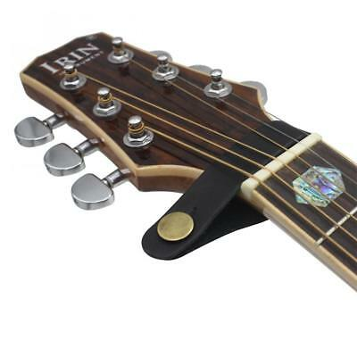 Leather Guitar Strap Holder Button Safe Lock Black Acoustic Electric Guitar Bass