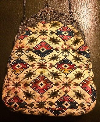 ANTIQUE PURSE HANDBAG 1800'S Hand Knitted W/ 800 Silver Repousse Frame BEAUTIFUL