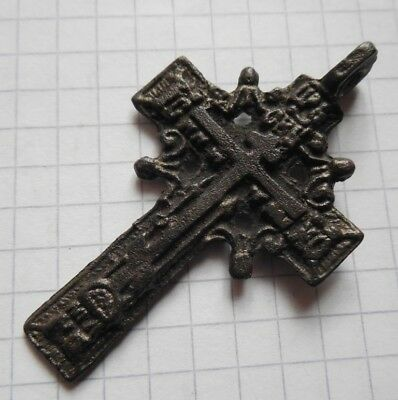 Medieval both sided bronze cross