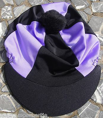 Riding Hat Silk Skull cap Cover BLACK & LILAC With OR w/o Pompom