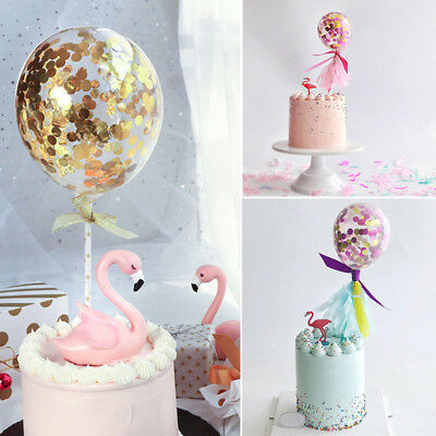 1pc Latex Confetti Ballons With Ribbon Wedding Birthday Party Cake Toppers Decor