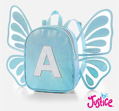 New Justice Butterfly Wings Initial Letter A Blue Mini Backpack NWT