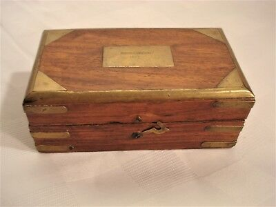Antique English rosewood and brass scientific instrument box, Cousens & Son.1917