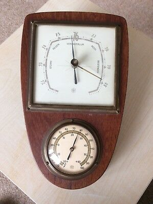 Vintage barometer with square face weather indication dial and temperature
