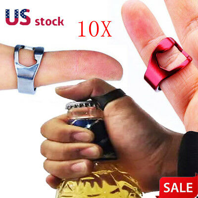 10X Beer Metal Finger Ring Bottle Opener Bar Cap Opener Remover Stainless Steel