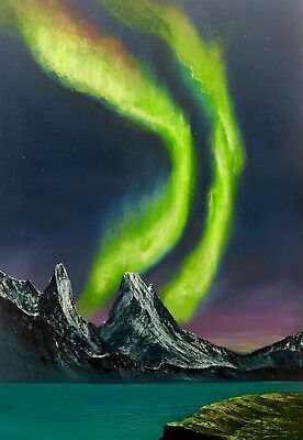 Northern Lights Original Oil And Neon Acrylic On N Lights Painting On Canvas