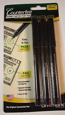 Counterfeit Bill Money Detector Pen by Dri-Mark Products - 3 Pack - New