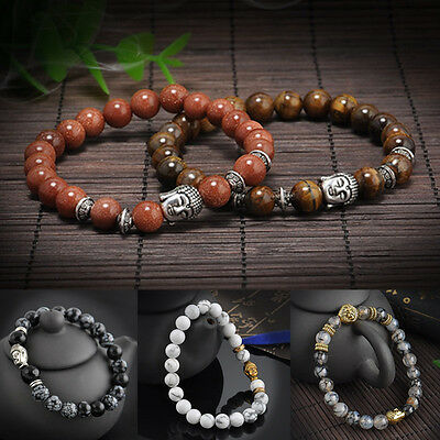 Men Women Lava Rock Bracelet Natural Gemstone Beads Buddha Head Handmade Beaded