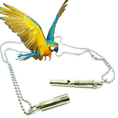 Stainless Steel Whistle Parrot Pet Bird  Intellectual Development Training Toy!