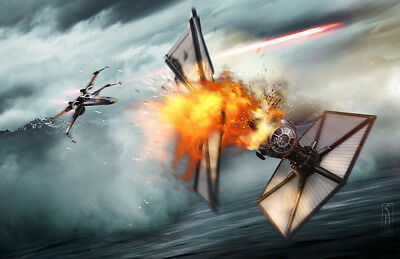 Star Wars X-wing Starfighter Battle Original Fine Art Print signed Scott Harben