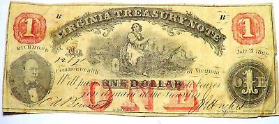 Large 1862 $1 Dollar Richmond Virginia Treasury Note Currency Old Paper Money