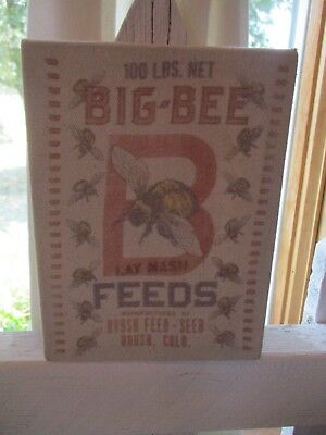 """farmhouse home decor Big Bee Feeds canvas wall picture 7.25x5"""" overstock new"""