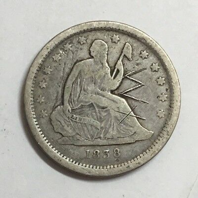1838 Seated Quarter 1st Year, Intial Scratches, F