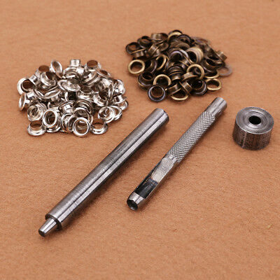 4/6/8mm Eyelet Hole Punch Tool with 100 EYELETS in set for DIY leather craft