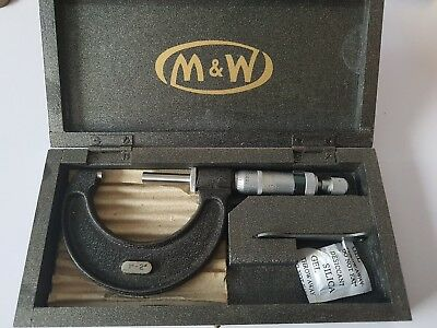 "Vintage M&W 1""-2"" Micrometer for accurate measuring Repairing Clocks etc mint co"