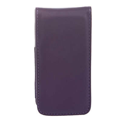 Dark Purple Faux Leather Magnetic Flip Phone Pouch Case Cover for iPhone 5  H5P9