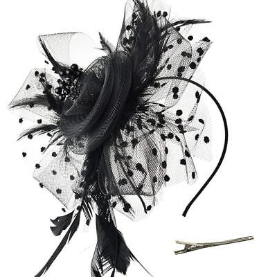 DRESHOW Fascinators Hat Flower Mesh Ribbons Feathers on a Headband and a...