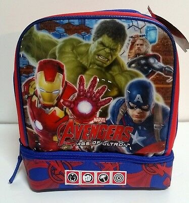 Marvel Avengers Captain Iron Man Hulk Thor Soft Insulated school Lunch Box Tote