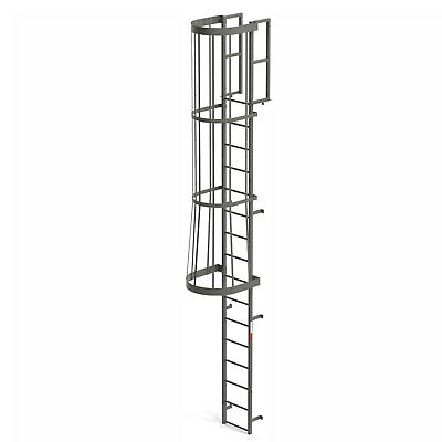 EGA FC16 Steel Fixed Cage Ladder, 16 Step, Gray, Lot of 1