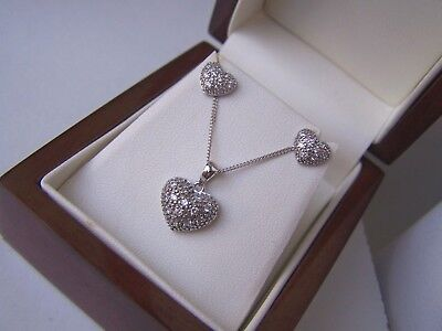 """Sterling Silver Simulated Diamond Heart Dome Pendant 18"""" Necklace Earrings Set"""