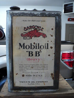 Original Gargoyle Mobiloil BB 5 Gallon Can In Crate -  Five Oil Gas Station Sign